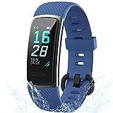 Holabuy Smartwatch, IP68 Impermeabile Fitness Tracker Pedometro Orologio con Cardiofrequenzimetro Fitness Orologio da Polso iOS Android Compatibile per Donne Uomini Bambini (152-Blu)