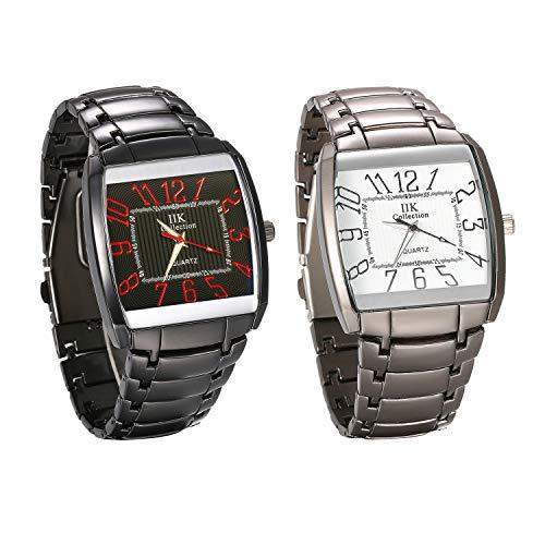 JewelryWe 2pcs Herrenuhr Analog Quarz wasserdichte Armbanduhr Retro Übergroße Männer Lässige Uhr mit Metall-Armband und rechteckigem Digital Zifferblatt, Schwarz Grau