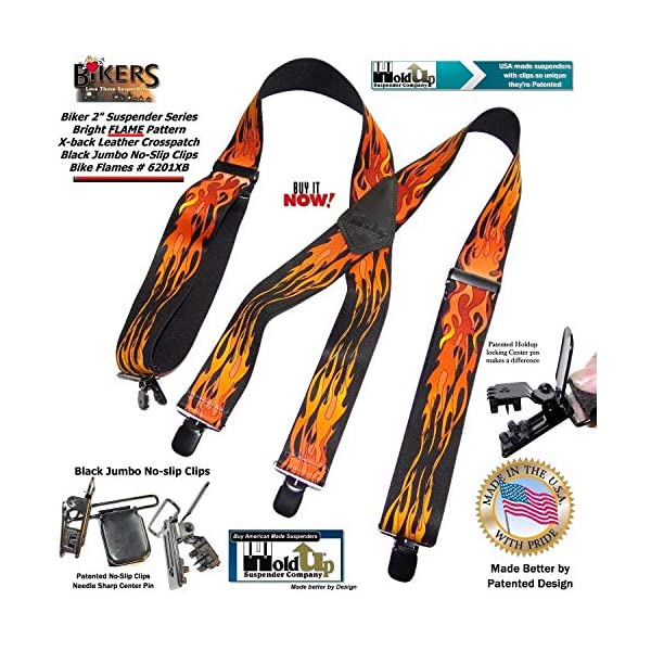 Holdup Suspender Company Flame Pattern 2″ wide Biker Suspenders with Patented Jumbo black no-slip Clips