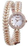 Reloj de pulsera para mujer con perlas y diamantes de imitación,...