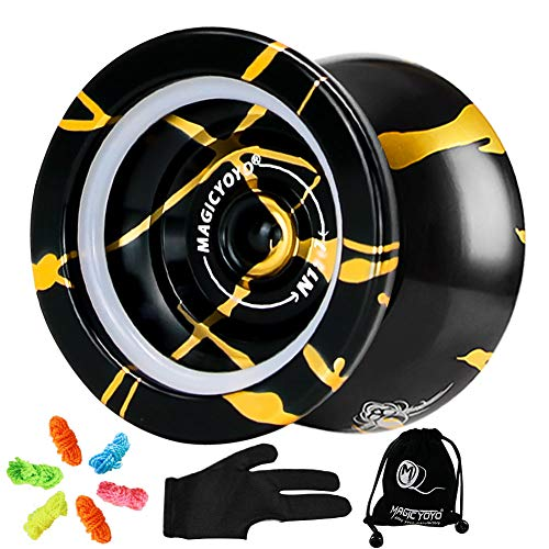 YOSTAR MAGICYOYO N11 Yoyo Professionelle Aluminiumlegierung Nicht reagierende Pro Yoyos with 6 JoJo Strings and Glove and Yo-yo Bag Include(Black with Golden)