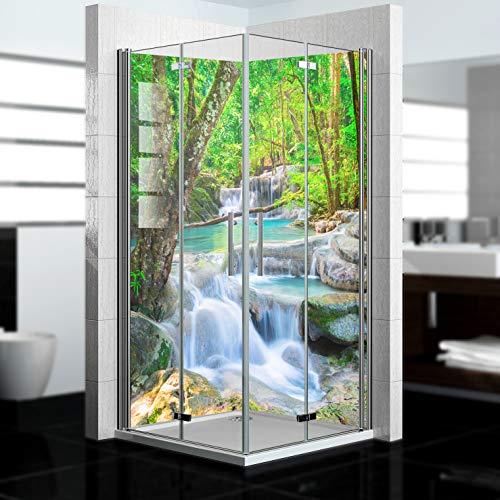 dedeco Eck-Duschrückwand wasserfest mit Wasserfall V8 Motiv - 2 x 90x200 cm, als Badrückwand zum Fliesenersatz, als Dekorwand, Wandverkleidung und Duschplatte aus Aluminium - Made in Germany