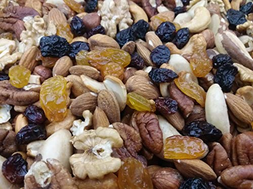 Dorimed - Mélange de Noix et Raisins - Amandes,Noisettes, Noix de Cajou, Noix de Pecan,Noix du Brésil,cerneaux de Noix, Raisins secs, cranberries - sac refermable 1 Kg