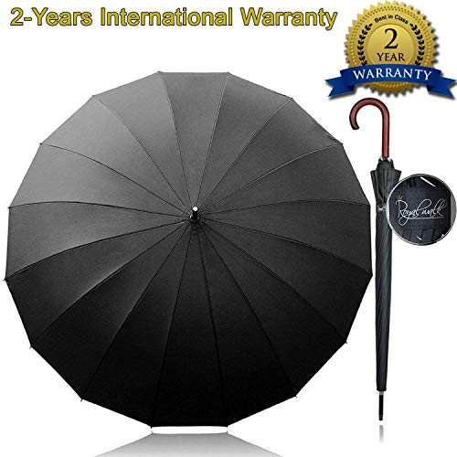 Royal Walk Ombrello Antivento Nero Grande 54 Pollici Ombrello Portatile Automatico Aperto per 2 Persone Uomo Donna di Legno Leggero Resistente 16 Costole Golf da Viaggio Impermeabile Robusto 120 cm