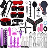 ZQS 34PCS Bed Game Play Set for Couple, Adult Fun, Binding Sex Games Toys for Couple Kits (Color : Red)