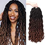 18 Inch Gypsy Faux Locs Crochet Hair 6 Packs Goddess Faux Locs 3 Tone Crochet Braids Pre Looped Faux Locs Curly Wavy Soft Gypsy Locs Twist Braiding Hair Synthetic Hair Extensions Dreadlocks African Roots for Black Women (1B/4/30#)