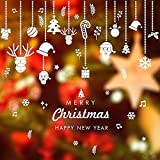 Duan hai rong 2 Piezas de Pegatinas Decoración Ventana Navidad, Copos Nieve Blancos Adornos Campanas Adhesivos para Pared