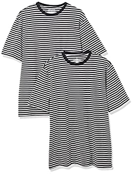Amazon Essentials Men s Regular-Fit Short-Sleeve Stripe Crewneck T-Shirts Black/Light Gray Heather Large