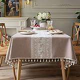 DSman Tischdecke Oxford Stoff Tischtuch Tischwäsche Pflegeleicht Tischdekoration Moderne Polyester Jacquard Weihnachtskitz Quaste