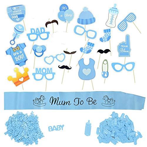 LYTIVAGEN Decoracion de Baby Shower Fiesta de Bienvenida de Niño o Niña Fiesta Sorpresa de Bebé Mum To Be con Confeti y Cinta Ceremonial para Revelación del Género del Bebé (Azul)