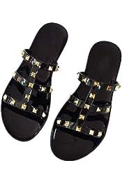 b2dfcb3ed80 iFANS Women Shiny Rivet Dress Flat Open Toe Sandals Gladiator Slippers Shoes