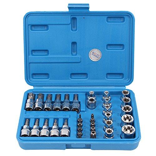 CCLIFE 34tlg Innen Außen Torx Steckschlüssel und Bit Satz | E4-E20 Nuss | T10-T60 Torxsatz | Stecknüsse Biteinsätze Steckschlüsseleinsätze