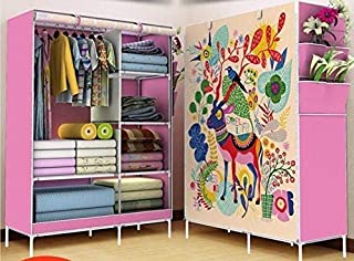 Lukzer Clothes Storage Wardrobe with 6 Shelves Side Pockets & Panoramic Printed Design Cabinet/Multi-Purpose Space Organizer for Bedroom 165 x 105 x 45CM (Pink/Deer Design)