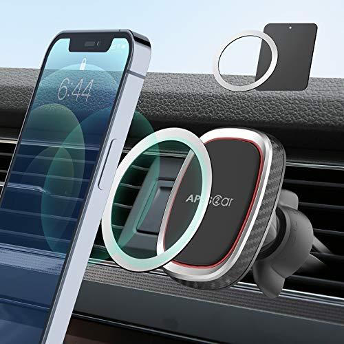 Handyhalterung Auto Magnet, 6 Starke Magnete, APPS2Car Handyhalterung Auto Lüftung, Stabiler Air Vent Clip, Handyhalterung Auto, kompatibel mit iPhone 12/12 mini/12 Pro/12 Pro Max/XS/XS Max/XR/X/8