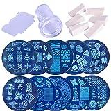 Aiyrchin 1 Juego de uñas de Arte Imagen Que Estampa Plantillas del raspador Kit Stamper 10 de manicura Set con Placas Stamper y el rascador Herramienta de Color al Azar para DIY Nail Art