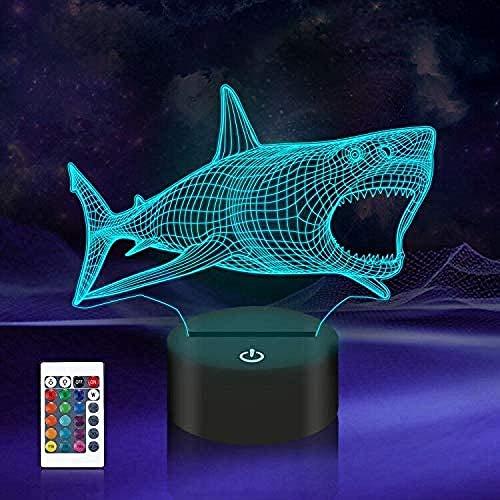 Lámpara de ilusión 3D de 16 colores LED de luz nocturna con control táctil, regalos de Navidad de cumpleaños para niños tiburón