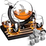 Whiskey Decanter Set with 4 Liquor Glasses Air Force Whisky Decanter & Glass Set with Wood Base & 9 Whiskey Stones - US Airforce Gifts for Men - Globe Bourbon & Scotch Decanter Veteran Military Gifts