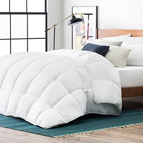LUCID Alternative Comforter-Hypoallergenic-All Season-400 GSM-Ultra Soft and Cozy-8 Duvet Loops-Box Stitched-3 Year Warranty-Machine Washable-Oversized King-White, Oversized King