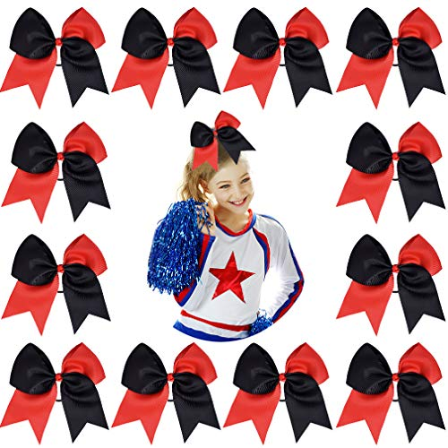 DEEKA 12PCS 8' Two Toned Large Cheer Hair Bows Ponytail Holder Handmade for Teen Girls Softball Cheerleader Sports-Red/Black