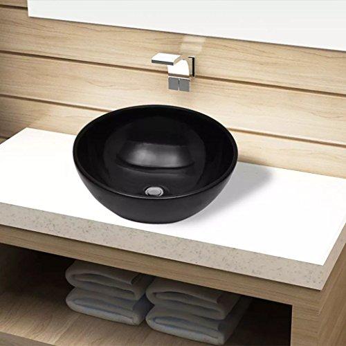 UnfadeMemory Lavabo Cerámica de Baño,Adorno para Hogar,sobre el Mueble,Fácil de Limpiar (32,5x14cm, Negro)