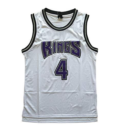 Camiseta Baloncesto Camiseta De Baloncesto Masculino Chris Webber # 4, Transpirable Resistente Al Desgaste Sudadera Bordada Camiseta + Pantalón Corto, XS-XXL, FHI220IHF ( Color : White , Size : XXL )
