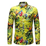Camisa de Hombre Primavera y otoño Americana 3D Digital Animal Print Casual Camisa de Manga Larga XXL