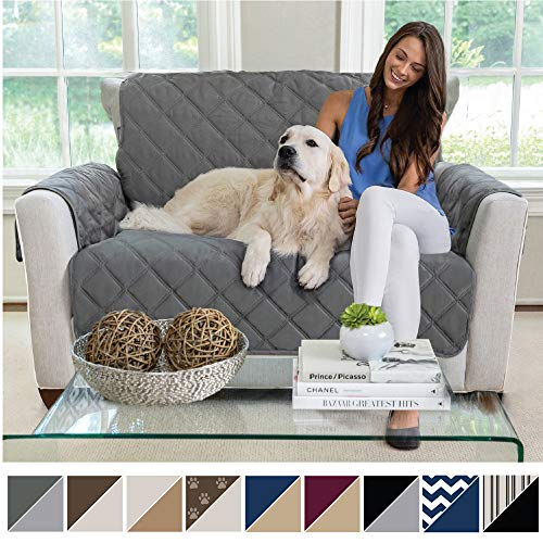 MIGHTY MONKEY Premium Reversible Chair Protector for Seat Width up to 48 Inch, Furniture Slipcover, 2 Inch Strap, Chairs Slip Cover Throw for Pets, Dogs, Cats, Armchair, Charcoal Light Gray