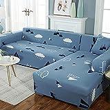 Protector para Sofás Acolchado,Funda de sofá elástica Patrón elástico Fundas de sofá Totalmente Cerradas Funda de sillón Protector Universal de Muebles Ajustados-1 Plaza_Nubes Azules
