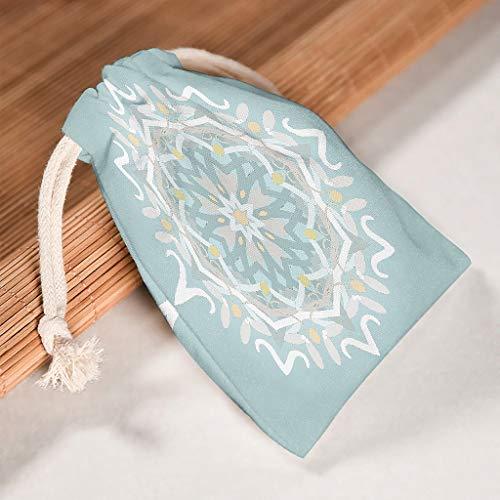 Lind88 Tasche mit Kordelzug, Mandela-Motiv, strapazierfähig, für Weihnachten, Hochzeit, Geschenk, Wickeltaschen, Mandela-Druck, Grün, 6 Stück, Baumwolle, weiß, 20 * 25cm