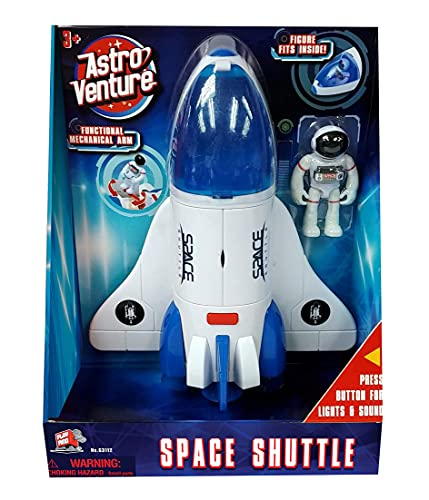 Astro Venture Space Shuttle Toy - Plastic White Spaceship for Kids with Lights and Sound - Astronaut Figure, Openable Cockpit and Compartment, Extended Arm - Fun Space Toys for any Mission & Adventure