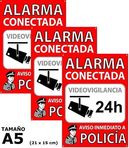 Pack de 3 Carteles Alarma Conectada | Placas Disuasorias A5
