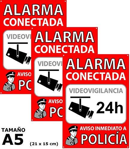 Pack de 3 Carteles Alarma Conectada | Placas Disuasorias A5 Interior/exterior Pvc Flexibles | Lote de 3 Carteles Aviso a la Policía | Zona Vigilada
