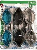 Dolfino Adult 3 Pack Swim Goggles (Aqua, Smoke, Clear)