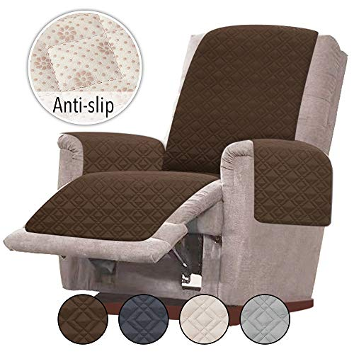 Rose Home Fashion RHF Anti-Slip Chair Covers for Leather Sofa, Slip-Resistant for Chair, Recliner Cover, Furniture Protectors for Recliner Chair Cover, Machine Washable(Recliner-Small: Chocolate)