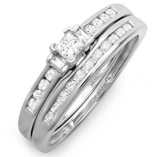 DazzlingRock Anillo de compromiso de oro blanco brillante de 10 quilates, redondo, corte princesa y baguette con diamante para mujer (0,60 quilates, color G-H, claridad Si-I)