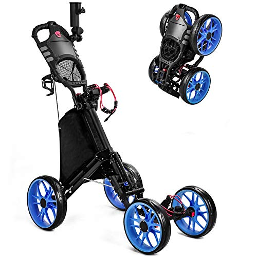 MOLANEPHY Golf Push Cart, 4 Wheel Golf Pull Cart -1 Click Folding Button, with Umbrella Drink Holder, Golf Accessories for Practice and Game