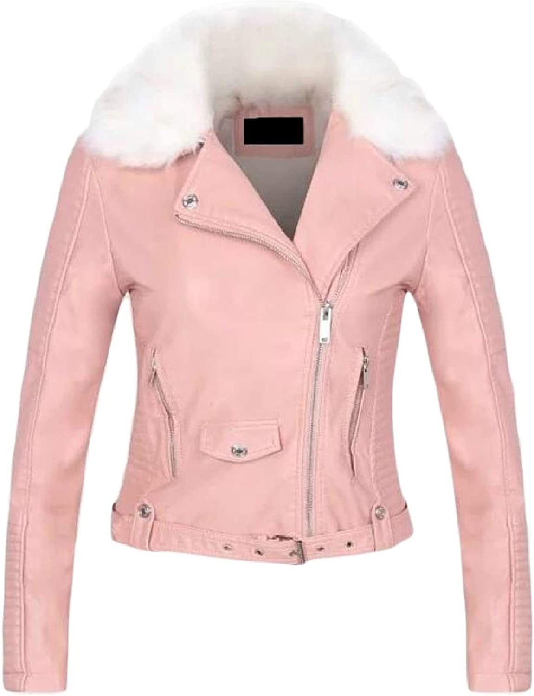 TymhgtCA Womens Winter Faux Fur Collar PU Leather Slim Jacket Outwear