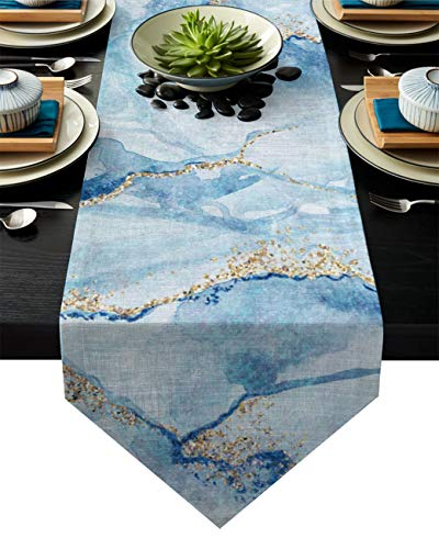 Z&L Home Linen Burlap Table Runner Dresser Scarves, Marble Texture Table Runners for Dinner Holiday Party, Wedding, Events, Kitchen Decor Watercolor Abstract Art 13x90Inch
