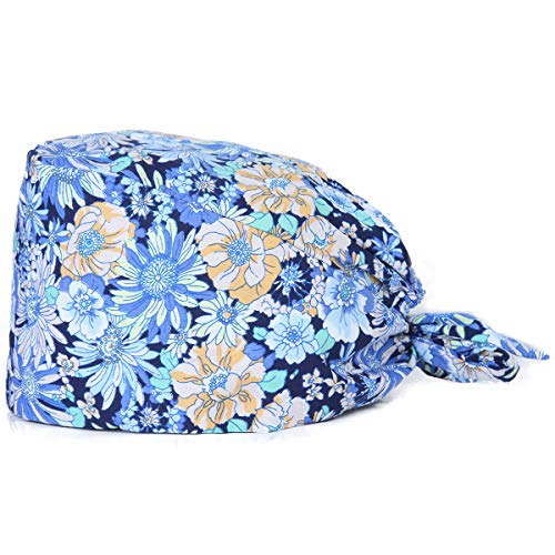 Kousenpu Adjustable Working Cap with Sweatband, Bouffant Tie Back Hat, Suitable for Men and Women, One Size Multi Color (Color Q)