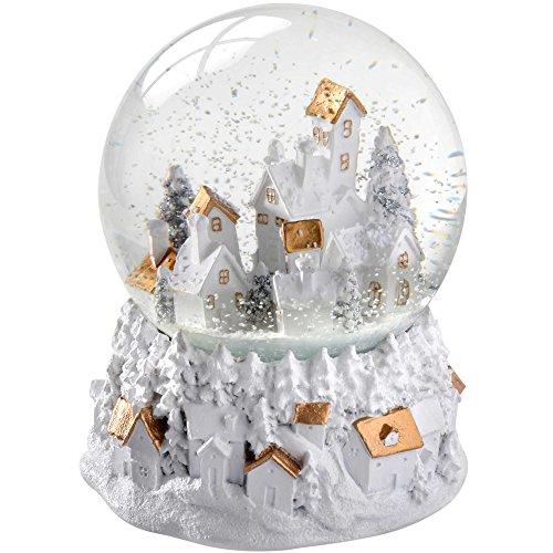 WeRChristmas–Sfera musicale di Natale con villaggio dai colori oro e bianco, con neve, decorazione natalizia, 13cm, multicolore