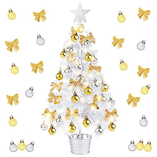Migaven Arbol Navidad Pequeño 24 Pulgadas con árbol Top Star Bola de Navidad Adornos de Bowknot Cadena de luz LED Maceta para Oficina en casa Tienda Escritorio Decoración de Navidad