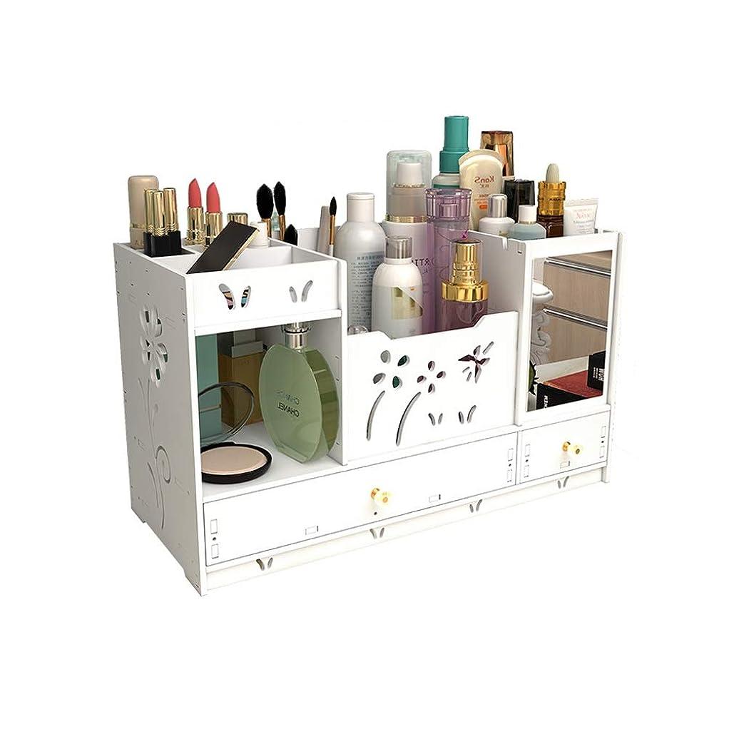 代わりの協力する航海ミラーの収納ラックが付いているデスクトップの化粧品の収納箱の化粧台