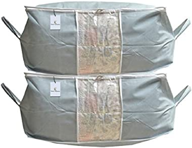 Kuber Industries™ Cloth Cover,Underbed Storage Bag,Saree Cover, Storage Organiser,Blanket Cover Set of 2 Pcs - Grey (Extra La