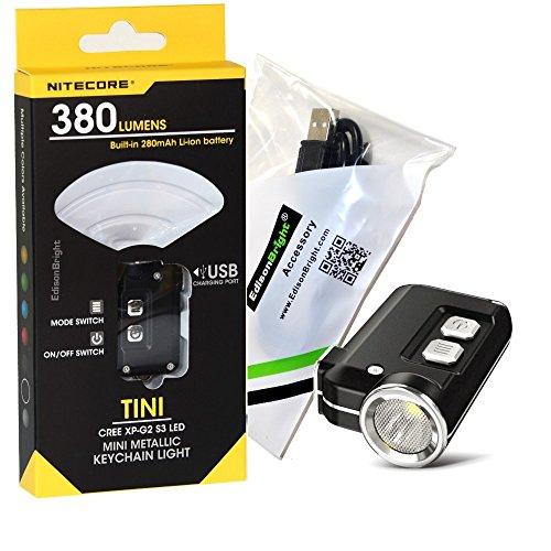 Nitecore TINI 380 lumen USB rechargeable LED keychain light with EdisonBright brand USB charging cable (Black)