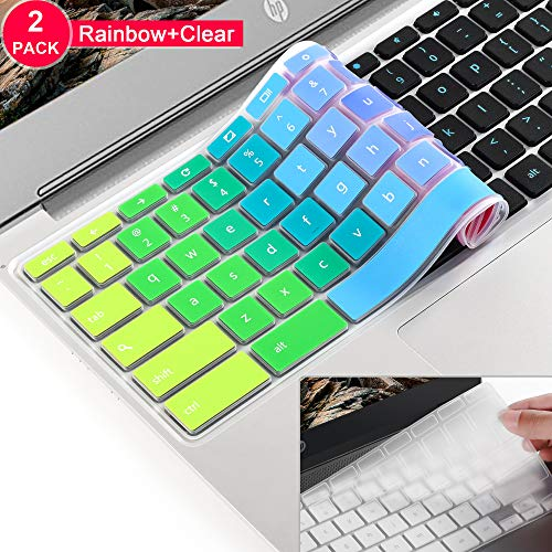 [2 Stück] Tastatur-Schutzfolie aus Silikon für ASUS Chromebook 11,6 Zoll C200 C200MA C201 C201PA C202SA Laptop US Version Regenbogenfarben