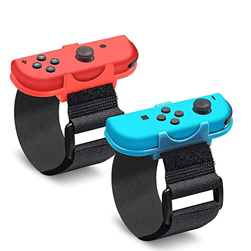 Wrist Bands for Just Dance, Adjustable Elastic Dance Strap Compatible with Nintendo Switch Joy-Con Controller Kids Comfortable Wristband Blue and Red