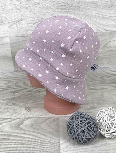 Sonnenhut inkl Nackenschutz 41-54 Mütze musselin Sterne altrosa kopftuch, Sonnenschutz baby, Schirmmütze, s