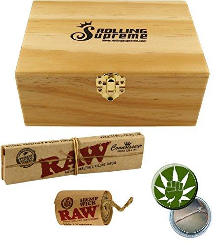 Wooden Box RS Holzbox M hoch 170 x 120 x 70 mm 3 Fächer inkl. Geheimfach Blättchenhalter + RAW KS Connoisseur Papers Tips + 3m Hemp Wick + Fight 4 Legal Ansteck Button 25mm