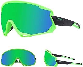X-Tiger Gafas de sol polarizadas para hombres y mujeres, protección UV, ciclismo, ciclismo, deportes, pesca, correr, conducir motocicleta (color: verde negro)