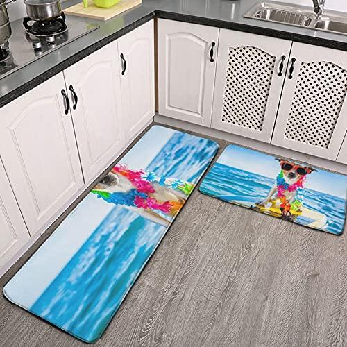 Juego de Alfombra de Cocina de 2 Piezas,tapetes de Cocina,Perro surfeando sobre una Tabla de Surf con una Flor,Alfombrilla súper Absorbente para baño de Cocina